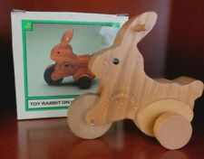Applause Vintage Wooden TOY RABBIT ON WHEELS 1987 Teddy Bear Story #19078 NOS