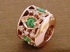 Bd099 GENUINE 9K 9ct Solid Rose Gold Natural Emerald & Diamond Bead Charm
