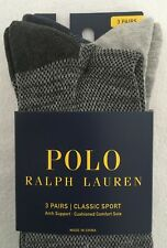 Polo Ralph Lauren Men's 3 Pack Crew Socks~Charcoal/Gray~Assorted Patterns~NWT