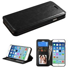 for APPLE iPhone 6 4.7-inch BLACK MONEY Wallet COVER CASE + CLEAR SCREEN FILM