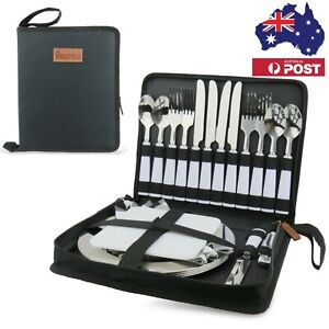 Picnic Set for 4 with SS Cutlery and SS Plates, Portable Travel Cutlery Set