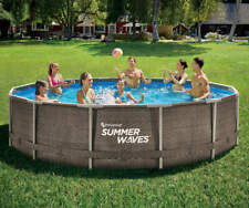"""New listing Summer Waves 14'x36"""" Wicker Print Metal Frame Pool With Filter Pump"""