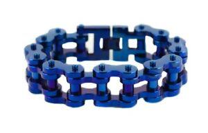 """9"""" Blue Silver 1"""" Wide Men's Bike Chain Bracelet Motorcycle Gear USA Seller"""