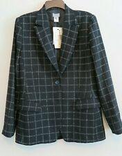NWT Adec Black White Plaid Wool Classic Blazer Size 8/42 MSRP $375