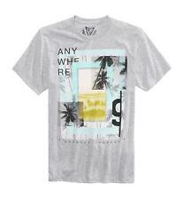 $115 Univibe Mens Gray White Crew Neck Short Sleeve Graphic Cotton Top T Shirt L
