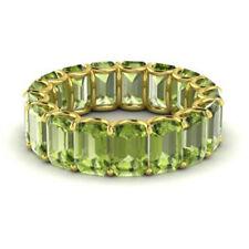 Real 14KT Yellow Gold 3.4 Ct Natural Diamond Peridot Gemstone Rings Size 4, 5, 6