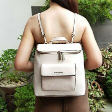 Charles & Keith Leather Top-Zip Textured Backpack - Beige
