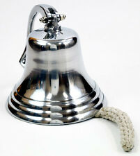 "Solid Aluminum Ship's Bell 7"" Chrome Finish Nautical Hanging Wall Decor New"