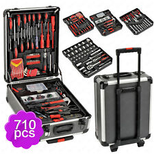 710 PCS Hand Tool Set Mechanics Metric Ratchet Wrench Kit Trolley Castors Box