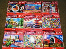Lot of 5 New 500 Piece Jigsaw Puzzles Mystery Lot Animals~Landscapes~Food~D isney