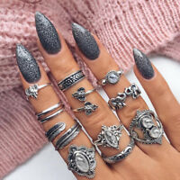 11PCS/set Retro Bohemian Opal Elephant Leaves Midi Finger Knuckle Rings Set