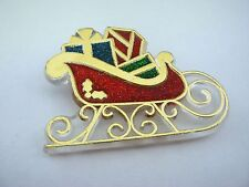 Vintage 1985 Christmas Pin: Santa Sleigh Filled w/ Presents