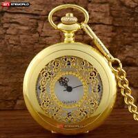 Vintage Gold Classic Pocket Watch Quartz Antique Steampunk Pendant Chain Retro
