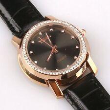 BELLISSIMO Orologio di cristallo placcato oro con brillante cinturino in pelle di coccodrillo Style