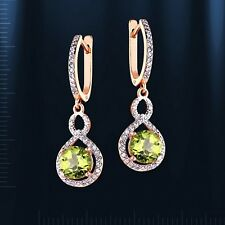 Russian solid rose gold 585/14k PERIDOT, CZ dangle earrings Beautiful