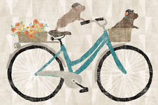 FRENCH BULLDOG FRENCHI Retro Style Art Poster Print Bicycle Bike Wicker Basket