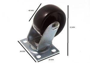 Castors Single Wheel Swivel Plate Fix 1 1/2 Inch 40mm Pack Of 100