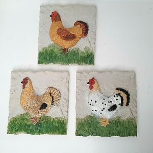 Chicken Themed Resin Hanging Wall 3D Plaques - Set of 3 Country Farm Rural Decor