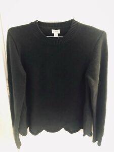 ~NWT J. Crew Black Scallop Hem Pullover Sweater L New Cotton~ MSR 69.50