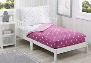 Delta Children Toddler Bedding Set | Girls 4 Piece Collection-Pink, Stars, Girl