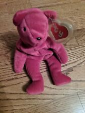 Authentic RARE Old Face MAGENTA TEDDY Bear 🐻 2nd/1st Generation Ty Beanie Baby