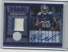 HAKEEM NICKS 2012 TOTALLY CERTIFIED TEAM PANINI 2 COLOR PATCH AUTO #D 4/10