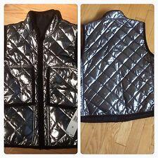 Women's Ralph Lauren Polo reversible vest quilted top Gunmetal Black Sz M NWT