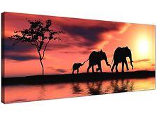 Orange Cheap Canvas Print of Elephants Africa  - 120cm x 50cm - 1102
