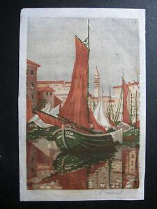 "AEMILIAN BAUDNIK , 1877 - 1930 . FARBHOLZSCHNITT "" VENEDIG "" , signiert"