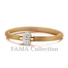 FAMA 14Kt Gold Over Stainless Steel Mesh Bracelet w/ Swarovski Crystal Bead