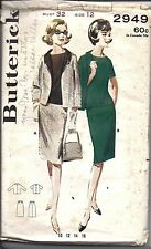 2949 Butterick Vintage SEWING Pattern Misses 1960's Suit Skirt Jacket 12 OOP