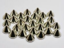 100 Silver Tone Metallic Rock Punk Acrylic Spike Rivet Taper Stud 10X8mm No Hole