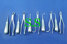 10 Extracting Forceps & Elevators Surgical Dental Instruments, DS-001
