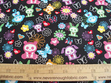 COTTON Fabric SKELANIMALS Multi colors on black BTY