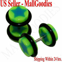 0847 Fake Cheaters Illusion Faux Ear Plugs 16G Bar Look Like 0G Green Blue Star