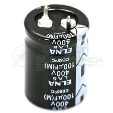 CONDENSATORE ELETTROLITICO ELNA 100uF 100 uF 400V 85°C 22x30 mm Passo 10mm