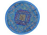 "Blue Oversize Sari Round Floor Pillow Cover Living Room Seat Ethnic Cushion 26"""