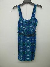 NWT As You Wish Love Reign Womens Sundress-M-Blues-Greens-Belted-Geometric