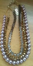Butler And Wilson Faux Pearl pink And Faceted Glass Beads gold and grey
