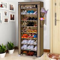 10 couches Porte-chaussures étagères à chaussures Meuble de rangement  Brun