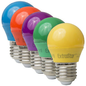 Extrastar E27 4W LED Partylampe Dekoration Bunt 5 Farben Kugel farbig sparlampe