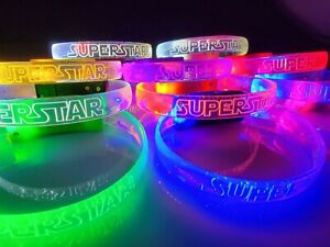Lot of 12 Superstar LED Light Up Wristband Bracelet Glow In The Dark Party Favor
