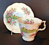Royal Albert Pedestal Teacup And Saucer - Ancestral Homes Glory Castle - England