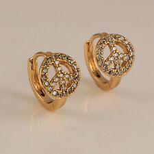 18ct Yellow Gold Filled Clear CZ Zirconia Crystal 13mm Huggie Hoop Earrings 319