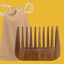 Wood Comb Afro Hair Pocket Pick Handmade Wide Tooth Sandalwood Comb + Gift Bag