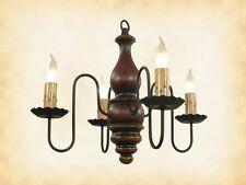 "4 CANDLE COLONIAL WOOD CHANDELIER - ""RED RUB w/ MUSTARD"" Light - Handmade in USA"