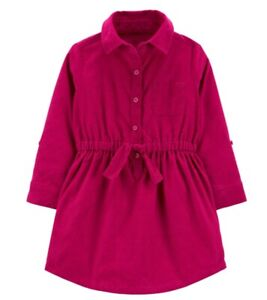 Corduroy Shirt Dress for Toddler Girls Color: Berry Size 4 T