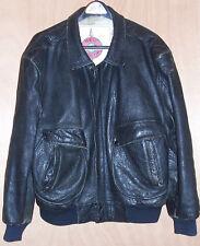 Mens Size 42 Black Leather Distressed Bomber Coat Jacket L Large USAF A-2 Flight