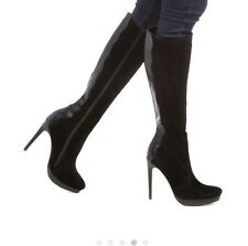 Black Suede looking with flex leather platform boots