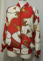 Vintage 80s women's windbreaker Medium colorful  print Red Gold chains Jacket